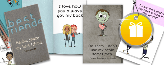 Book covers and pages from a customizable friendship book