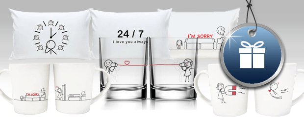 Couples pillows, glasses and mugs with stick-figure art of a loving couple
