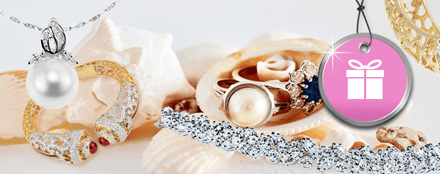 Montage of pearl, diamond and gold jewelry with blue and red stones