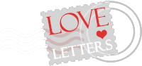 Postage stamp with a heart and the words Love Letters