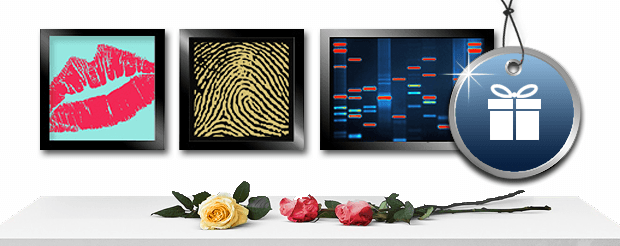 Console table with three roses laying on top and three DNA paintings above