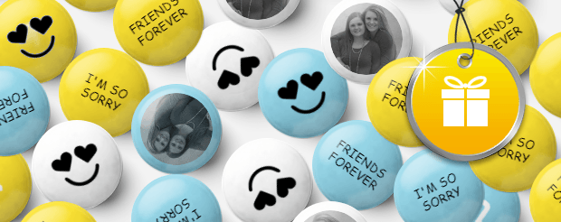 Custom yellow and white and baby blue M&Ms with pictures of two girlfriends, the phrases 'Friends Forever', 'I'm so sorry' printed on them