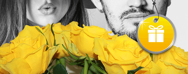 Woman and Man behind a bouquet of yellow friendship roses