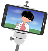 Smartphone on a selfie stick taking a video