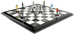 chess board with human figures as chess pieces