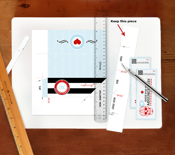 Cutting out the airline-ticket style envelope