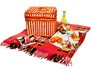 picnic balnket with a picnic basket and food and wine