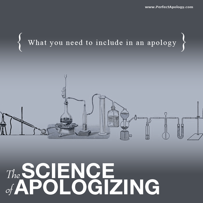Beakers and other laboratory equipment to illustrate the science or ingredients behind a proper apology
